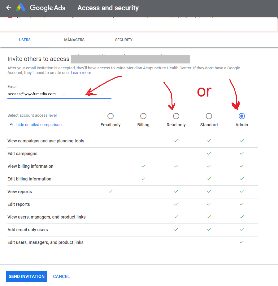 google read only admin access invite