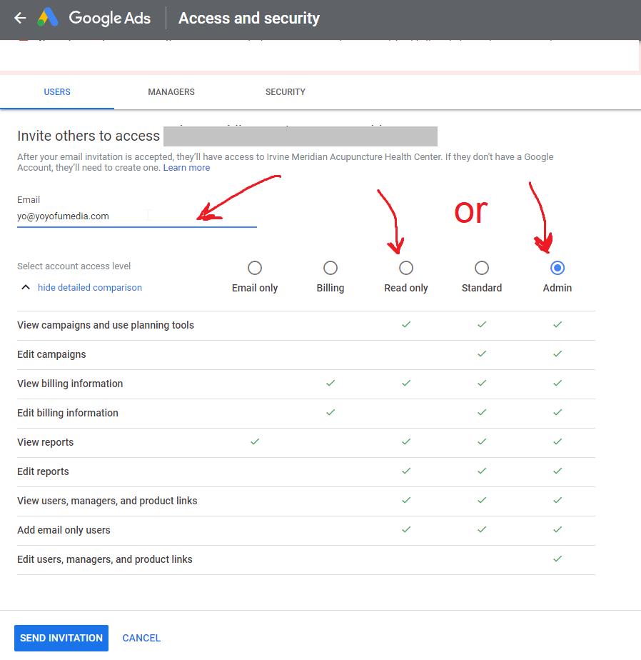 google read only or admin access