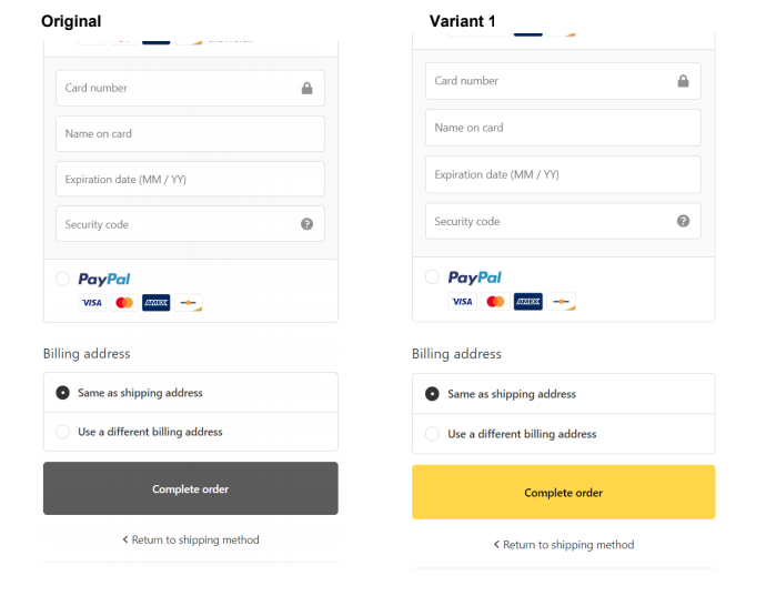 Yellow vs Default Grey Shopify Button Color A/B Test