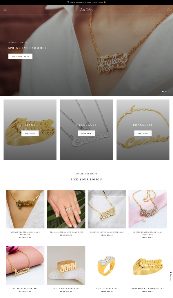 a/b test shopify ecommerce jewelry shop