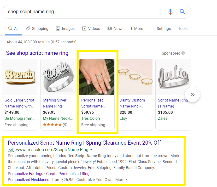 Google Ads of Tres Colori Shopify Store