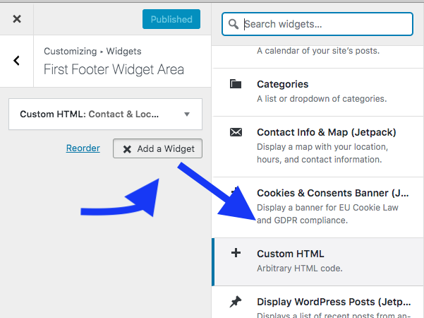 Click add widget then add custom html wordpress