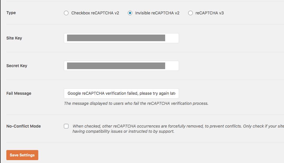 contact form recaptcha key fill