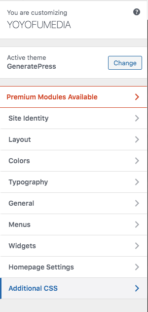 Where Additional CSS for Customize Is In WordPress