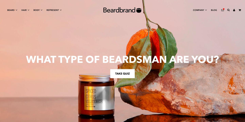 Beardbrand Shopify Website Design Color Scheme