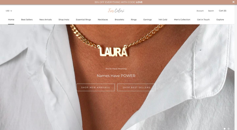 TresColori Shopify Website Design Homepage