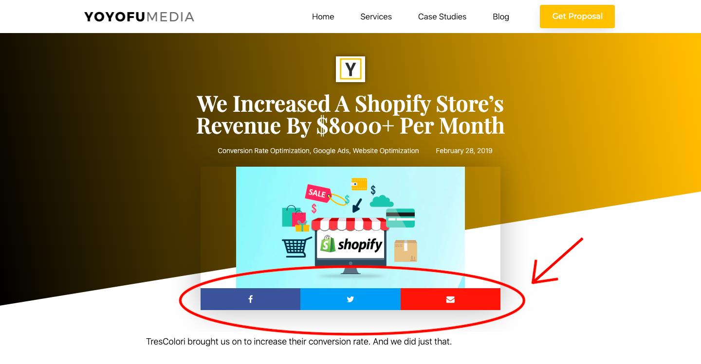 YoYoFuMedia Shopify Case Study Social Media Links
