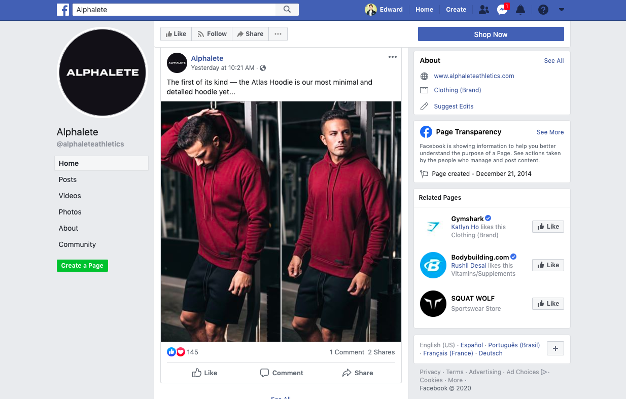 Alphalete Facebook Style Marketing Post Instagram