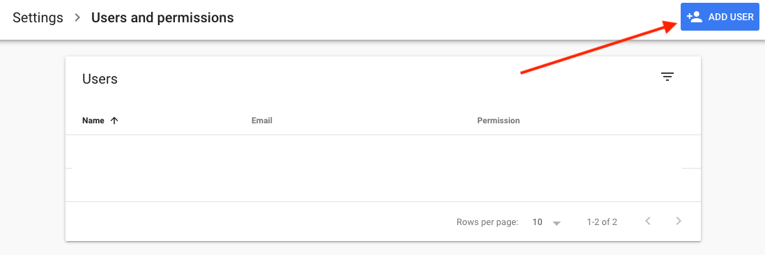 Click add users on the top right google search console