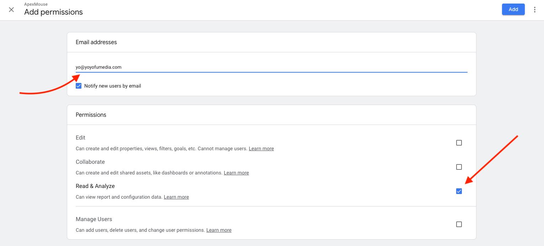 Google Analytics add read permission