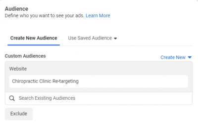 Setting Custom Chiropractic Facebook Ad Audience