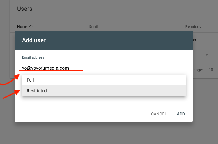 enter email address and permission level for google search console