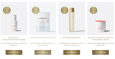 best selling products from peachandlily website