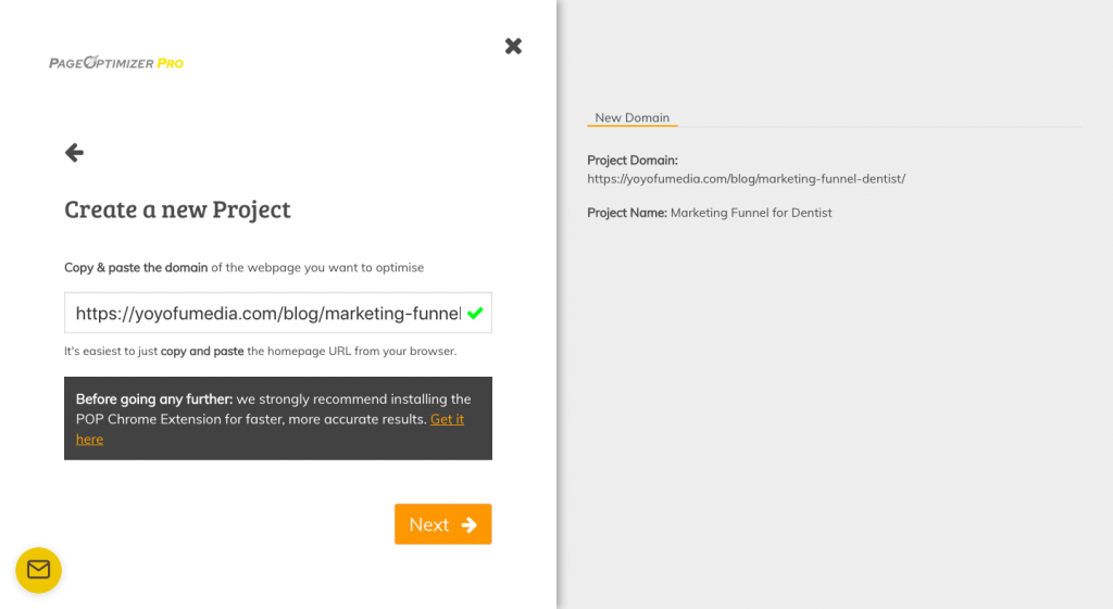 Page Optimizer Pro Creating New Project Button