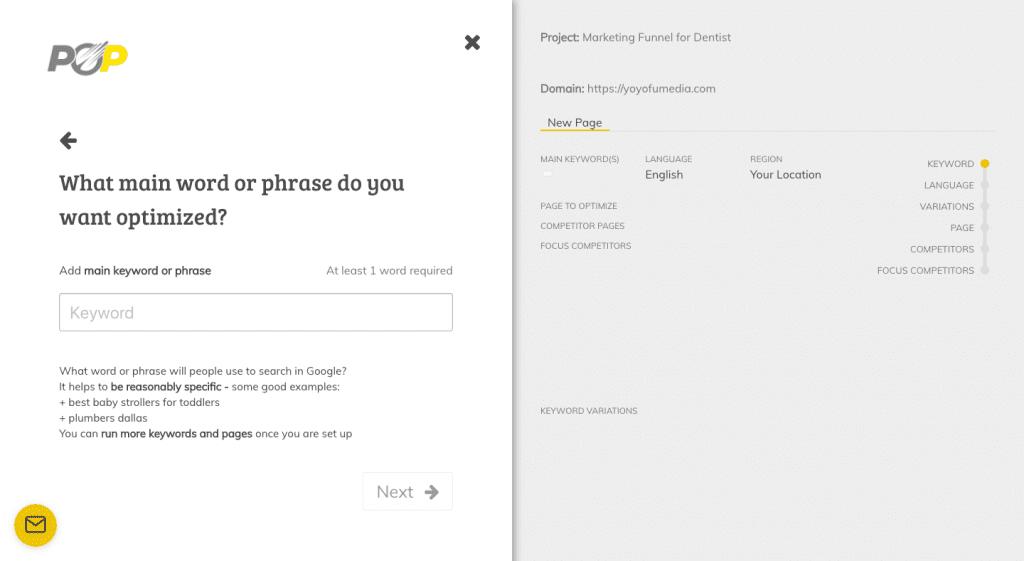 Page Optimizer Pro Target Keyword Selection