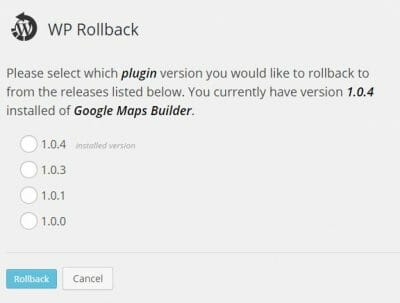 WP Rollback Version Best Free WordPress Plugins for Blogs