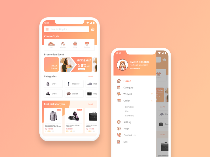 example graphic of ecommerce mobile app design