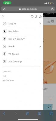 mobile side bar on Soko Glam website