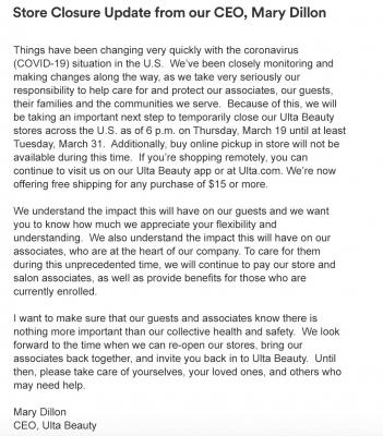 Ulta email announcement