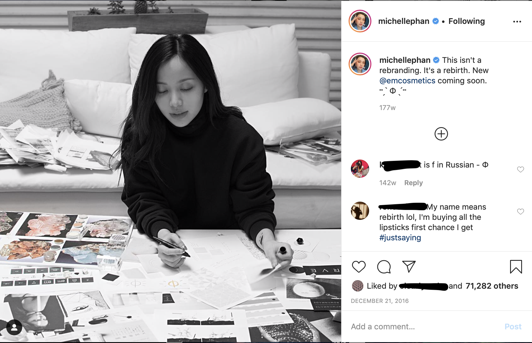Michelle Phan during em cosmetics rebranding process