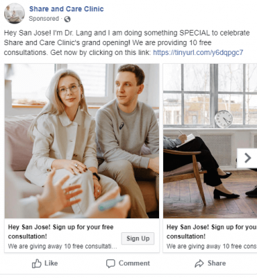 facebook carousel ad with a couple going to therapy