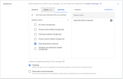 Custom Audience Google for Remarketing