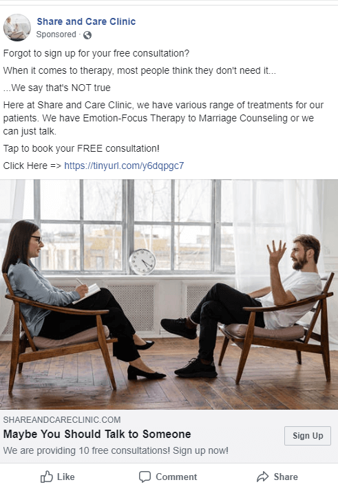 Remarketing ad with a man sitting down to talk to a female therapist