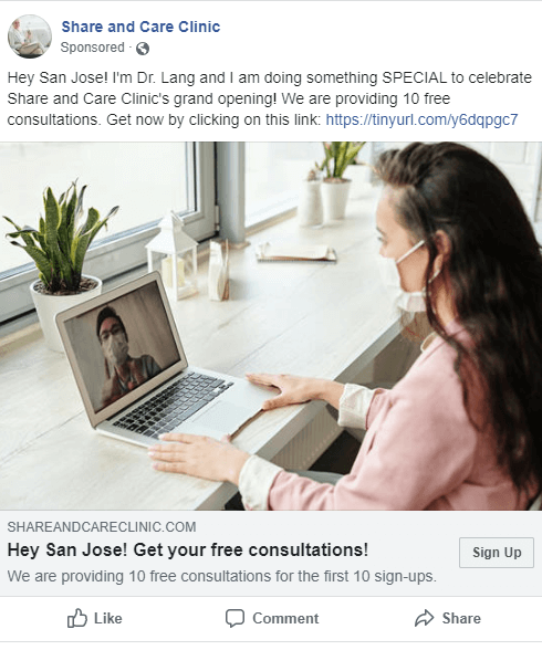 Image ad of a therapist video calling