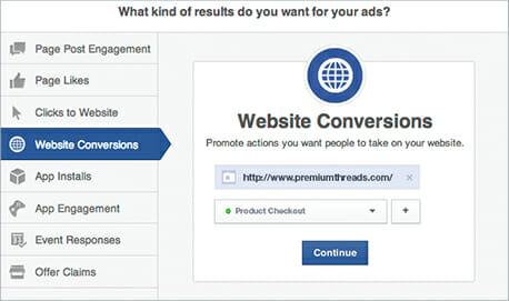FB ad Website Conversion