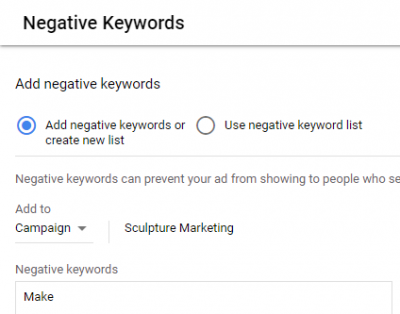 Google Ads Negative Keywords