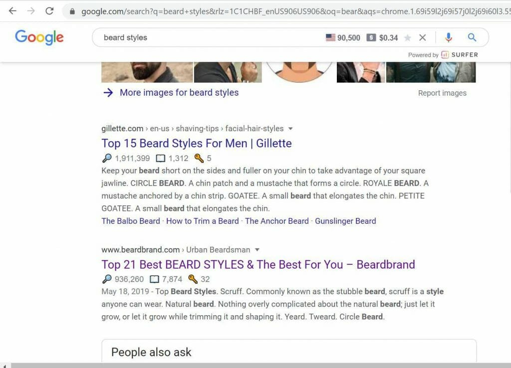 beard style google search results