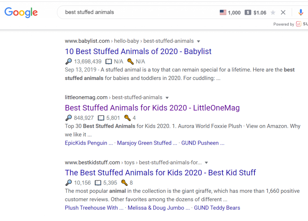 best stuffed animals google results