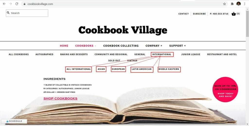 cookbook villages collections pages