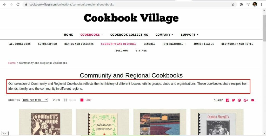 cookbook village collection page content description