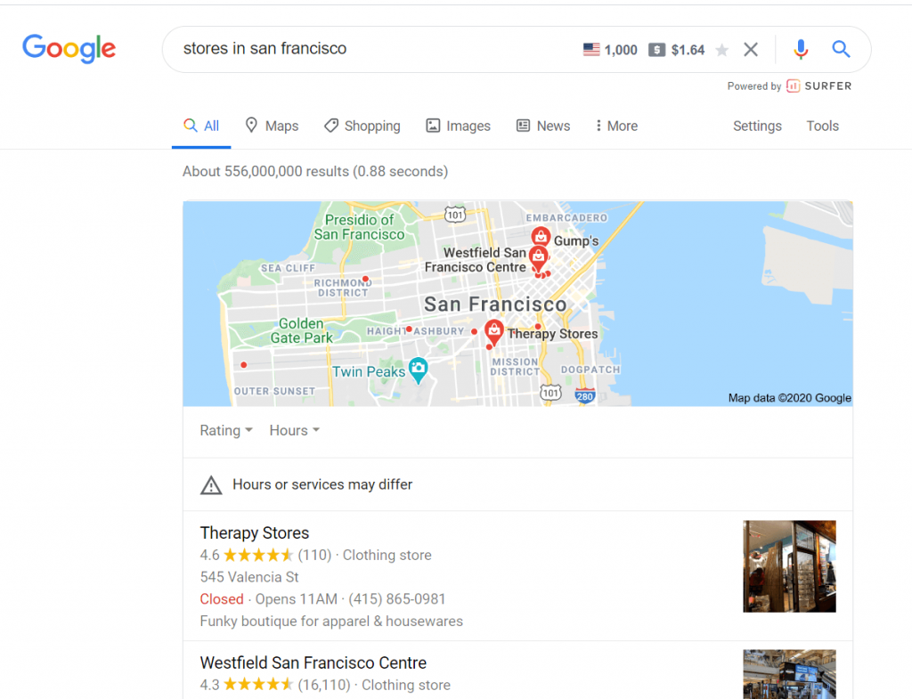 google map pack for ecommerce shops with physical stores