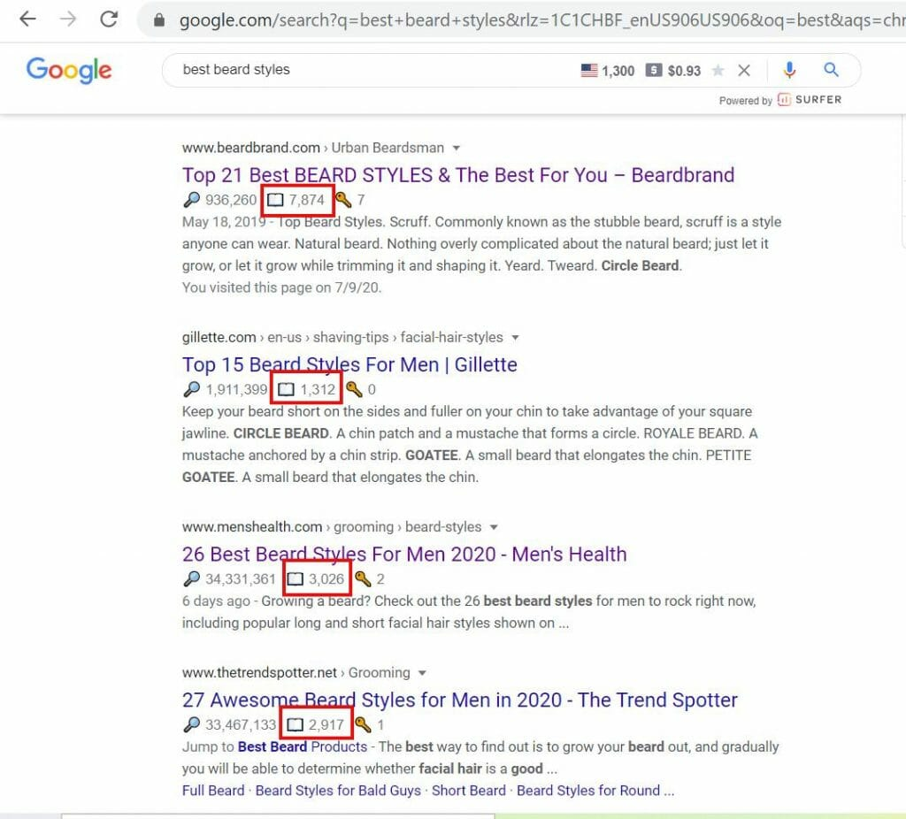 using keyword surfer to see word count of page results