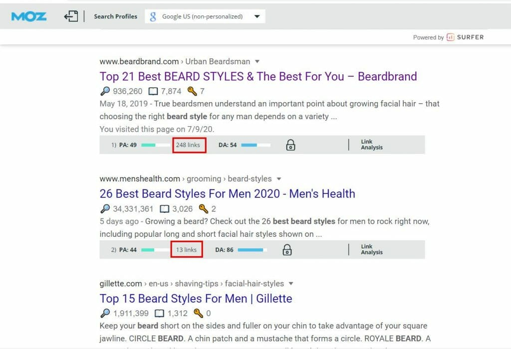 using mozbar to see number of backlinks of search results