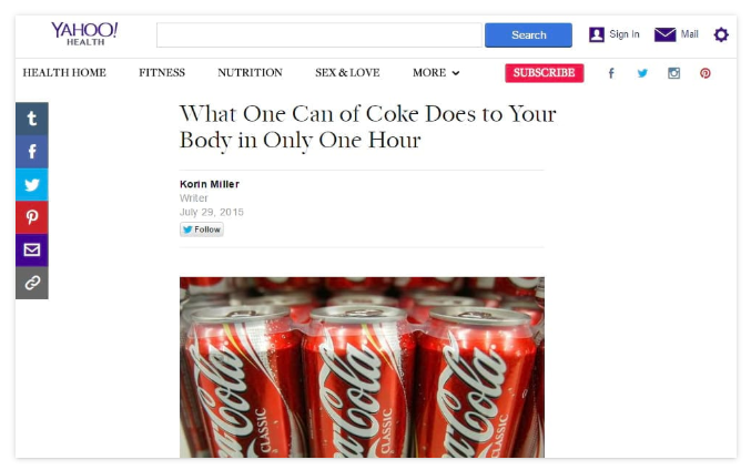 yahoo news post on viral coke infographic content