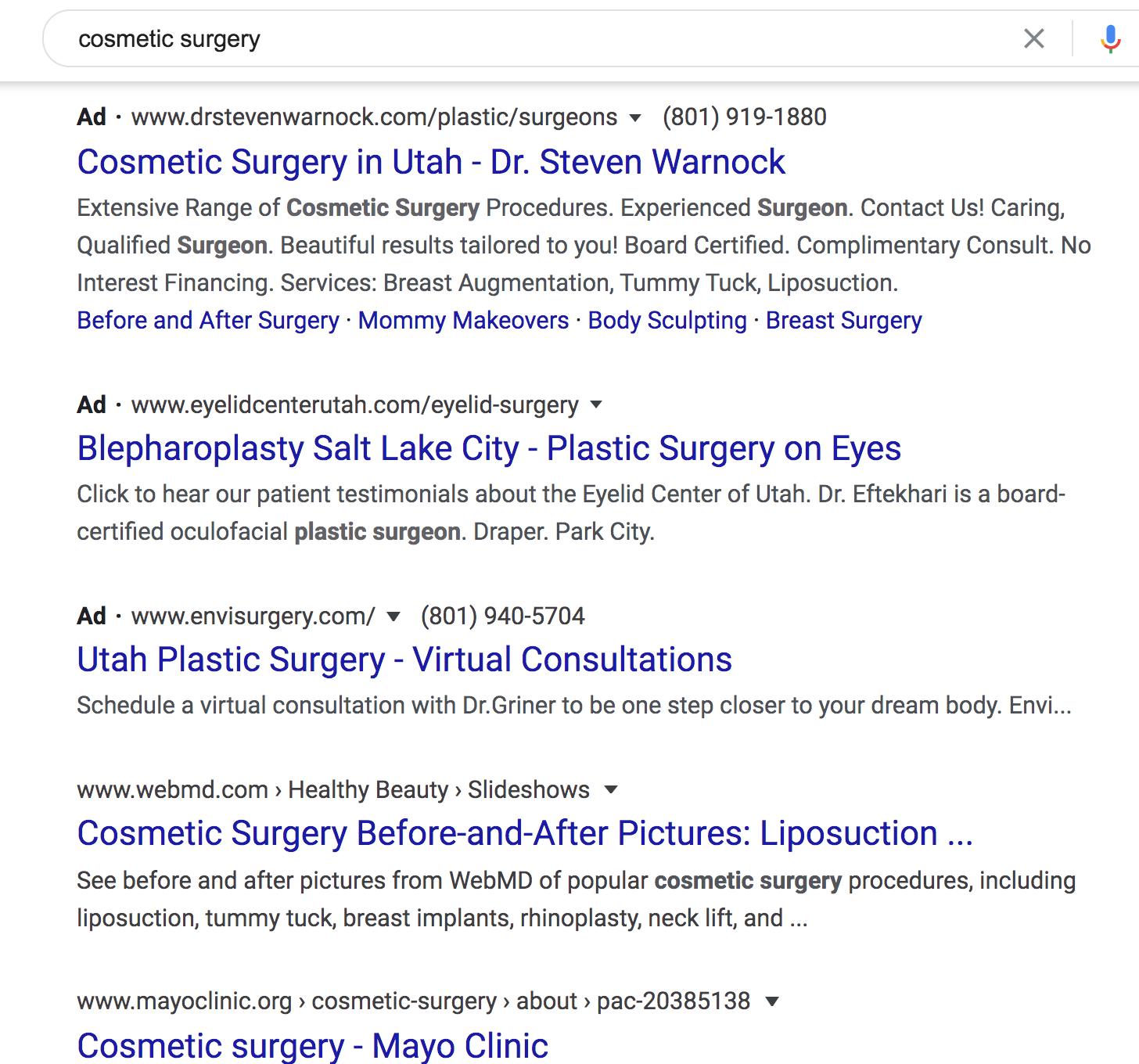 Cosmetic Surgery SEO vs PPC