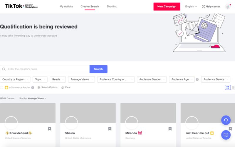 TikTok Creator marketplace Creator search