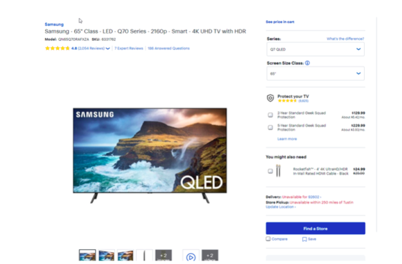 product page seo done right samsung