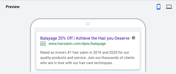 Ad Example for Google ads for Hair salons