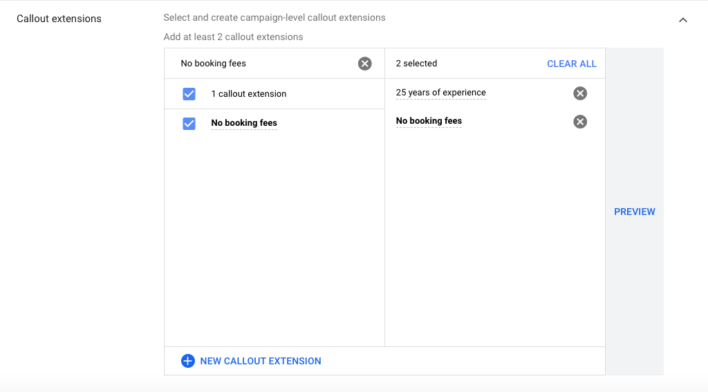 Callout Extensions for Google ads for hair salons