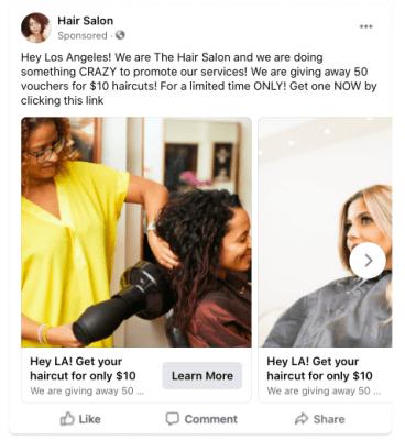 Carousel ad Facebook ads