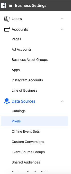 Data Sources, Pixels for Facebook ads