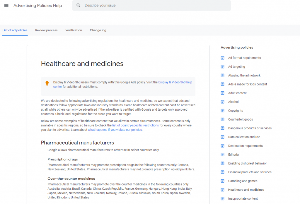 Healthcare Policies from Google