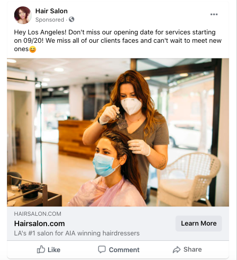 Link Click Example for Facebook Ads