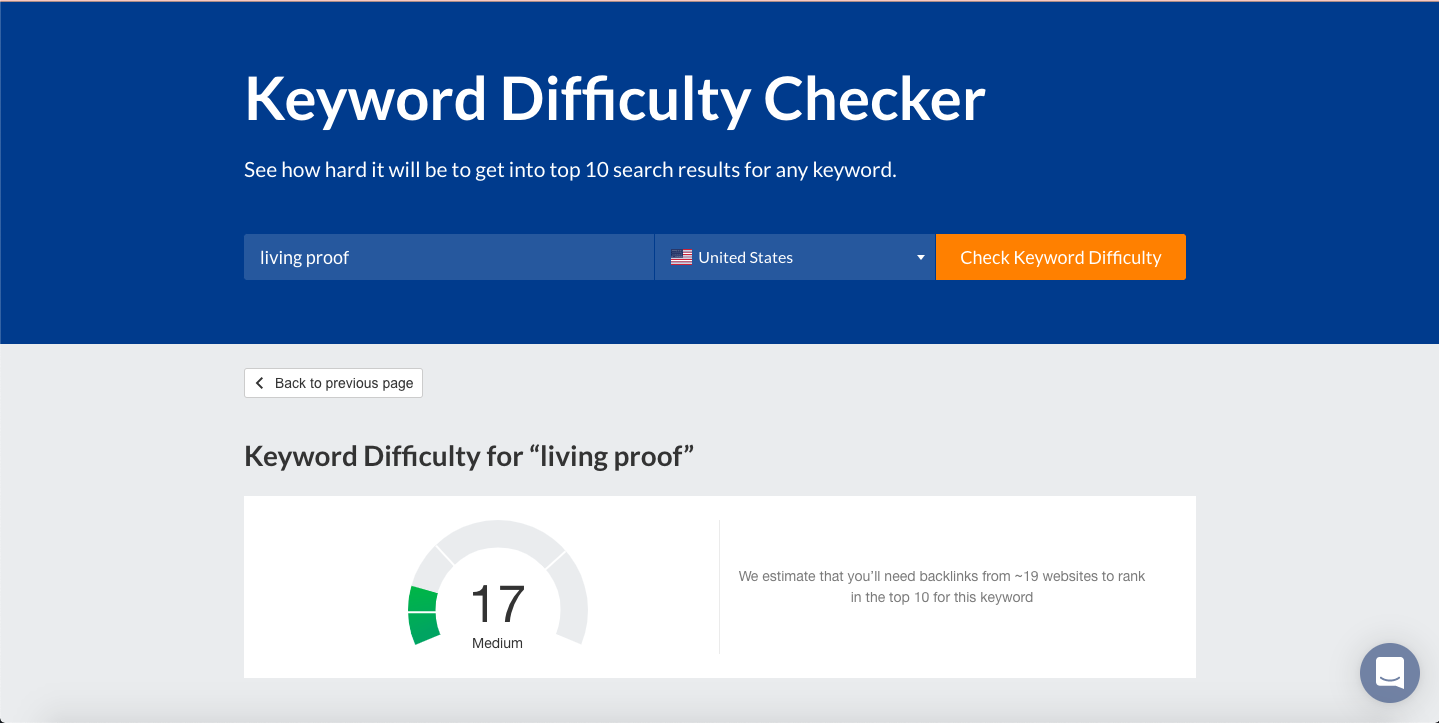 Keyword Difficulty Checker- Living Proof
