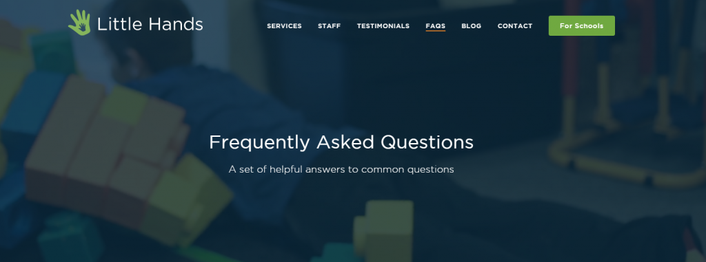 FAQ section and multiple landing pages
