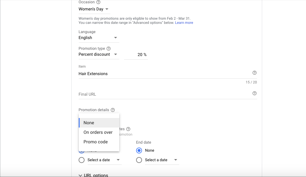 Promotion Extension Settings for Google ads for hair salons